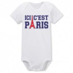 BODY BÉBÉ MIXTE MANCHES COURTES imprimé - ICI C'EST PARIS du 0/3 au 18/23 mois enfant foot cadeau neuf