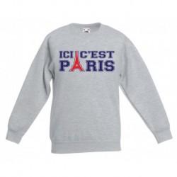 sweat-shirt manche longues imprimé Ici c'est Paris foot du 3/4 au 12/13 ans enfant cadeau neuf