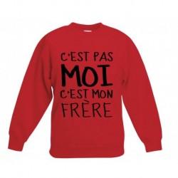 sweat-shirt manche longues rouge imprimé C'est pas moi c'est mon frère du 5/6 au 12/13 ans neuf