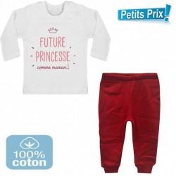 Ensemble bébé pantalon rouge + T-shirt manche longue Futur princesse comme maman DU 3/6 au 9/12 mois cadeau neuf