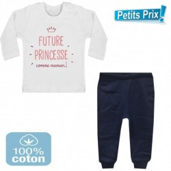 Ensemble bébé pantalon bleu + T-shirt manche longue Futur princesse comme maman DU 3/6 au 9/12 mois cadeau neuf