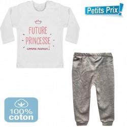 Ensemble bébé pantalon gris + T-shirt manche longue Futur princesse comme maman DU 3/6 au 9/12 mois cadeau neuf