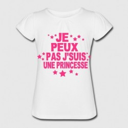 T-shirt enfant fille manche courte - Je peux pas, je suis une princesse du 3/4 au 9/11 ans cadeau anniversaire noel neuf