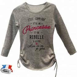 Pull long imprimé C'est compliqué d'être une princesse et une rebelle a la fois du 4 au 12 ans enfant fille cadeau neuf