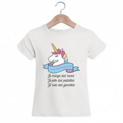 T-shirt enfant fille manche courte - Je suis une princesse licorne... du 3/4 au 9/11 ans cadeau anniversaire noel neuf
