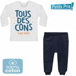 Ensemble bébé pantalon bleu + T-shirt manche longue Tous des cons sauf papa 3/6 au 9/12 mois cadeau naissance noel neuf
