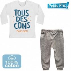 Ensemble bébé pantalon gris + T-shirt manche longue Tous des cons sauf papa 3/6 au 9/12 mois cadeau naissance noel neuf