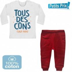 Ensemble bébé pantalon rouge + T-shirt manche longue Tous des cons sauf papa 3/6 au 9/12 mois cadeau naissance noel neuf