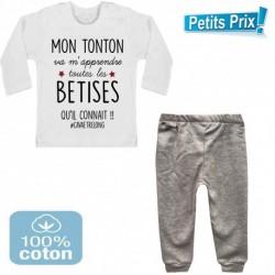 Ensemble bébé pantalon gris + T-shirt Mon tonton va m'apprendre toutes les bêtises...3/6 au 9/12 mois cadeau naissance noel neuf