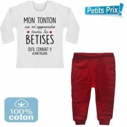 Ensemble bébé pantalon rouge+T-shirt Mon tonton va m'apprendre toutes les bêtises...3/6 au 9/12 mois cadeau naissance noel neuf