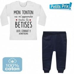 Ensemble bébé pantalon bleu+T-shirt Mon tonton va m'apprendre toutes les bêtises...3/6 au 9/12 mois cadeau naissance noel neuf
