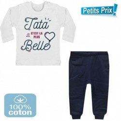 Ensemble bébé pantalon bleu + T-shirt manche longue Tata c'est la plus belle 3/6 au 9/12 mois cadeau naissance noel neuf