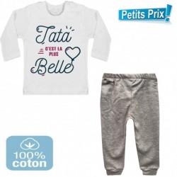 Ensemble bébé pantalon gris + T-shirt manche longue Tata c'est la plus belle du 3/6 au 9/12 mois cadeau naissance noel neuf