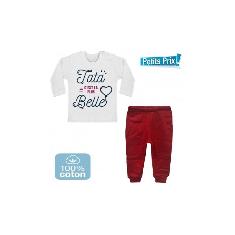 8e7c5b0e6d804 Ensemble bébé pantalon rouge + T-shirt manche longue Tata c est la plus