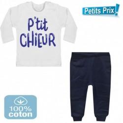 Ensemble bébé pantalon bleu + T-shirt manche longue P'tit chieur du 3/6 au 9/12 mois idée cadeau naissance noel neuf