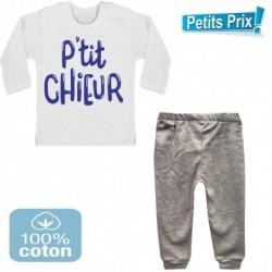 Ensemble bébé pantalon gris + T-shirt manche longue P'tit chieur du 3/6 au 9/12 mois idée cadeau naissance noel neuf