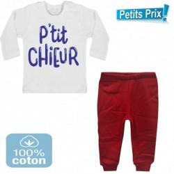 Ensemble bébé pantalon rouge + T-shirt manche longue P'tit chieur du 3/6 au 9/12 mois idée cadeau naissance noel neuf