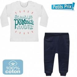 Ensemble bébé pantalon bleu + T-shirt manche longue Je suis un pestacle vivant 3/6 au 9/12 mois cadeau naissance noel neuf