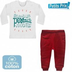 Ensemble bébé pantalon rouge + T-shirt manche longue Je suis un pestacle vivant 3/6 au 9/12 mois cadeau naissance noel neuf
