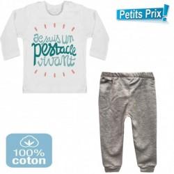 Ensemble bébé pantalon gris + T-shirt manche longue Je suis un pestacle vivant 3/6 au 9/12 mois cadeau naissance noel neuf