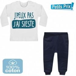 Ensemble bébé pantalon bleu + T-shirt manche longue J'peux pas j'ai sieste du 3/6 au 9/12 mois cadeau naissance noel neuf