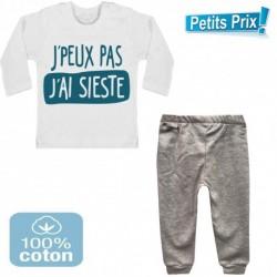 Ensemble bébé pantalon gris + T-shirt manche longue J'peux pas j'ai sieste du 3/6 au 9/12 mois cadeau naissance noel neuf