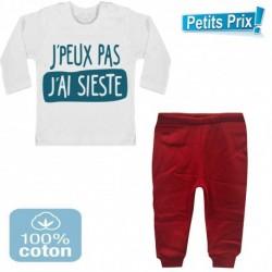 Ensemble bébé pantalon rouge + T-shirt manche longue J'peux pas j'ai sieste du 3/6 au 9/12 mois cadeau naissance noel neuf