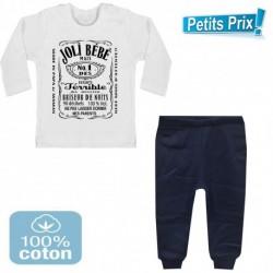 Ensemble bébé pantalon bleu + T-shirt manche longue Joli bébé... du 3/6 au 9/12 mois idée cadeau naissance noel neuf