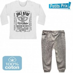 Ensemble bébé pantalon gris + T-shirt manche longue Joli bébé... du 3/6 au 9/12 mois idée cadeau naissance noel neuf