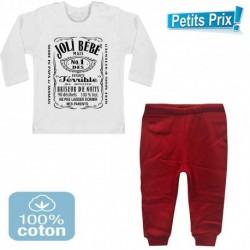 Ensemble bébé pantalon rouge + T-shirt manche longue Joli bébé... du 3/6 au 9/12 mois idée cadeau naissance noel neuf