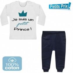 Ensemble bébé pantalon bleu + T-shirt manche longue Je suis un petit prince du 3/6 au 9/12 mois cadeau naissance noel neuf