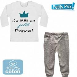 Ensemble bébé pantalon gris + T-shirt manche longue Je suis un petit prince du 3/6 au 9/12 mois cadeau naissance noel neuf