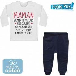 Ensemble bébé pantalon bleu+T-shirt manche longue Maman quand tu me fais des câlins..3/6 - 9/12 mois cadeau naissance noel neuf