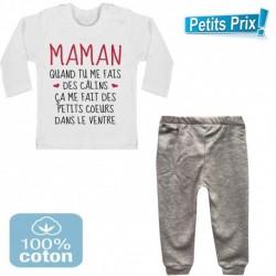 Ensemble bébé pantalon gris +T-shirt manche longue Maman quand tu me fais des câlins..3/6 - 9/12 mois cadeau naissance noel neuf