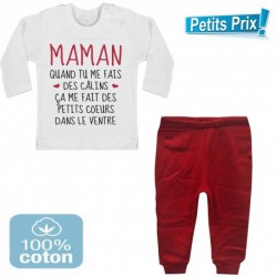 Ensemble bébé pantalon rouge +T-shirt manche longue Maman quand tu me fais des câlins..3/6 -9/12 mois cadeau naissance noel neuf