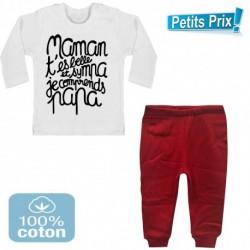 Ensemble bébé pantalon rouge + T-shirt manche longue Maman t'es belle et sympa.. 3/6 au 9/12 mois cadeau naissance noel neuf