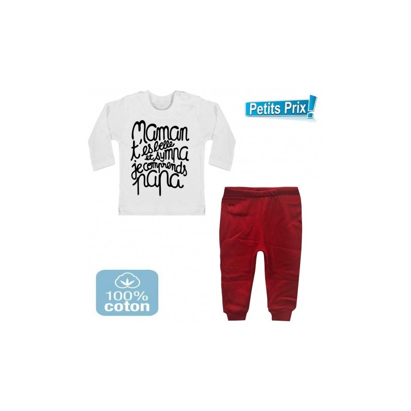 ensemble b b pantalon rouge t shirt manche longue maman. Black Bedroom Furniture Sets. Home Design Ideas
