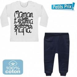 Ensemble bébé pantalon bleu + T-shirt manche longue Maman t'es belle et sympa.. 3/6 au 9/12 mois cadeau naissance noel neuf