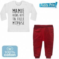 Ensemble bébé pantalon rouge + T-shirt manche longue Mamie viens vite ... 3/6 au 9/12 mois cadeau naissance noel neuf
