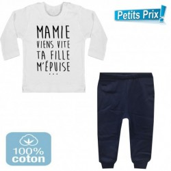 Ensemble bébé pantalon bleu + T-shirt manche longue Mamie viens vite ... 3/6 au 9/12 mois cadeau naissance noel neuf