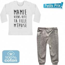 Ensemble bébé pantalon gris + T-shirt manche longue Mamie viens vite ... 3/6 au 9/12 mois cadeau naissance noel neuf