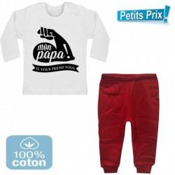 Ensemble bébé pantalon rouge + T-shirt manche longue Mon papa il vous prend tous 3/6 au 9/12 mois cadeau naissance noel neuf