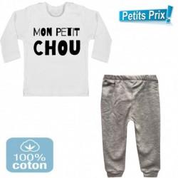 Ensemble bébé pantalon gris + T-shirt manche longue Mon petit chou du 3/6 au 9/12 mois cadeau naissance noel neuf