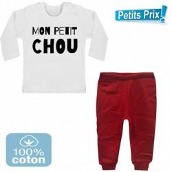 Ensemble bébé pantalon rouge + T-shirt manche longue Mon petit chou du 3/6 au 9/12 mois cadeau naissance noel neuf