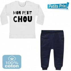 Ensemble bébé pantalon bleu + T-shirt manche longue Mon petit chou du 3/6 au 9/12 mois cadeau naissance noel neuf