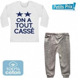 Ensemble bébé pantalon gris + T-shirt manche longue On a tout cassé 2 étoiles foot 3/6 au 9/12 mois cadeau naissance noel neuf
