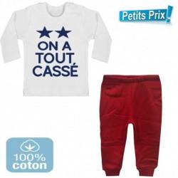 Ensemble bébé pantalon rouge + T-shirt manche longue On a tout cassé 2 étoiles foot 3/6 au 9/12 mois cadeau naissance noel neuf