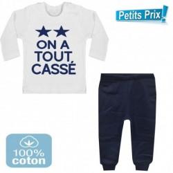 Ensemble bébé pantalon bleu + T-shirt manche longue On a tout cassé 2 étoiles foot 3/6 au 9/12 mois cadeau naissance noel neuf