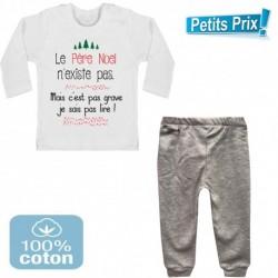 Ensemble bébé pantalon gris + T-shirt manche longue Le père noel n'existe pas ...du 3/6 au 9/12 mois cadeau naissance noel neuf