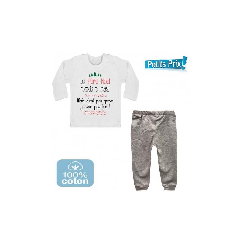 52da1008b9e38 Ensemble bébé pantalon gris + T-shirt manche longue Le père noel n existe.  Loading zoom